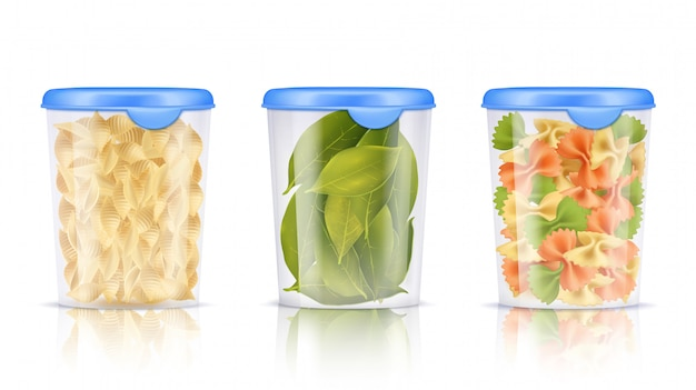 Filled plastic food containers icon set Free Vector