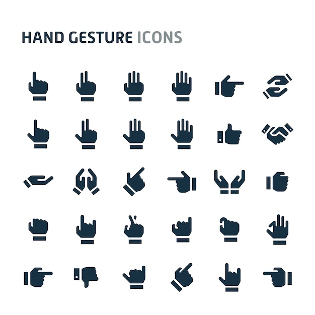 Набор иконок жест рукой. fillio black icon series. Premium векторы