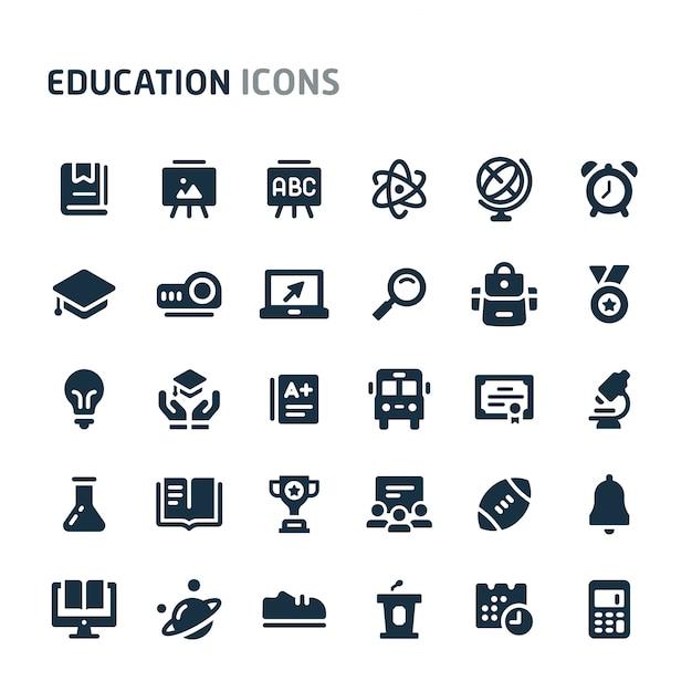 教育のアイコンを設定します。 fillioブラックアイコンシリーズ。 Premiumベクター