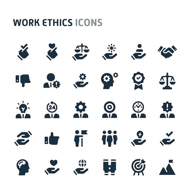 仕事倫理のアイコンを設定します。 fillioブラックアイコンシリーズ。 Premiumベクター