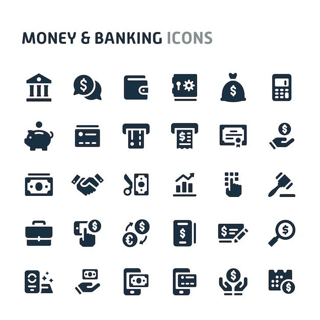 お金&銀行のアイコンを設定します。 fillioブラックアイコンシリーズ。 Premiumベクター