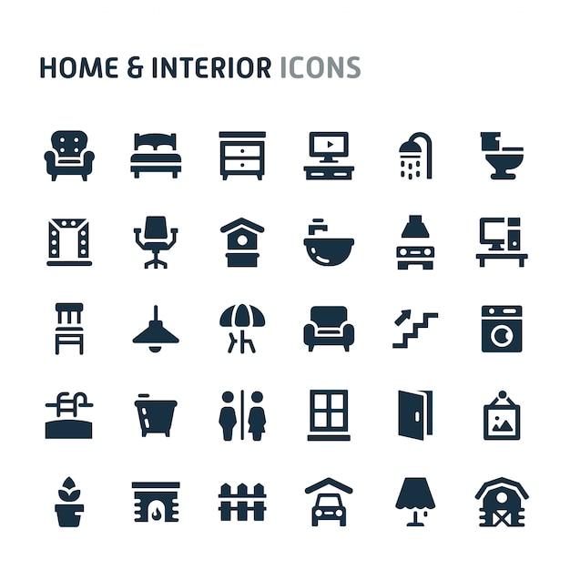 ホーム&インテリアアイコンセット。 fillioブラックアイコンシリーズ。 Premiumベクター