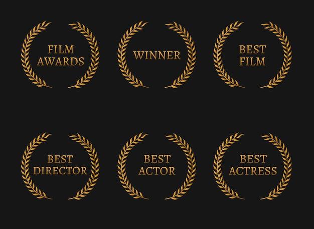 영화 아카데미 상 수상자 및 검은 색 바탕에 최고의 후보 금 화환. 프리미엄 벡터