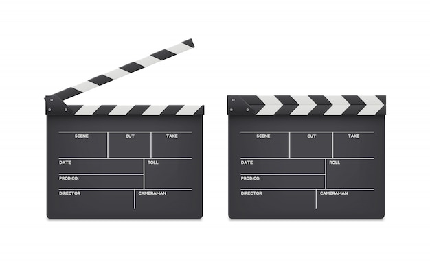 Film clappers boards isolated Premium Vector