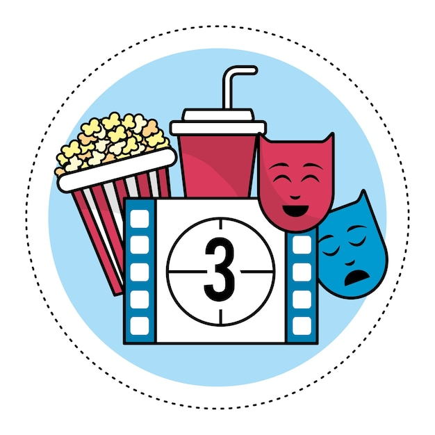 Film countdown number 3 with popcorn and genres Premium Vector