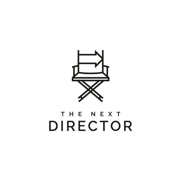 Film director chair and arrow right logo Premium Vector