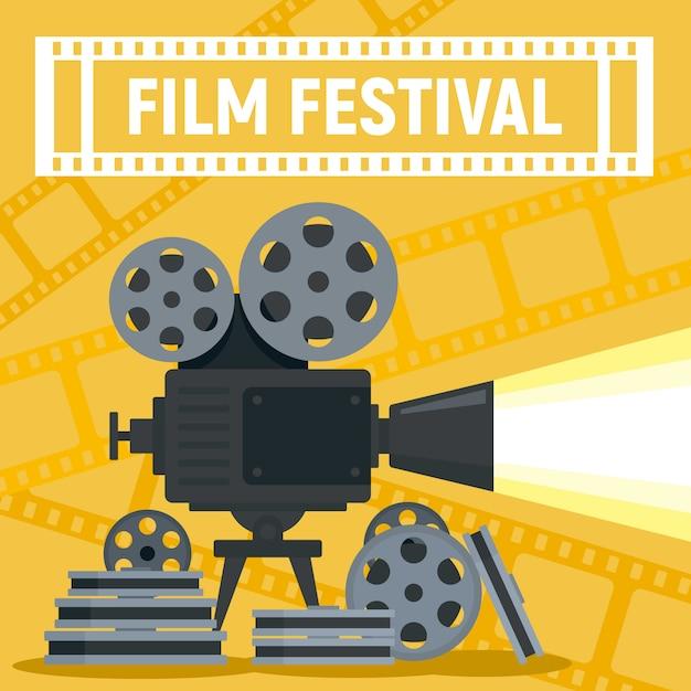 Film festival camera reel concept, flat style Premium Vector