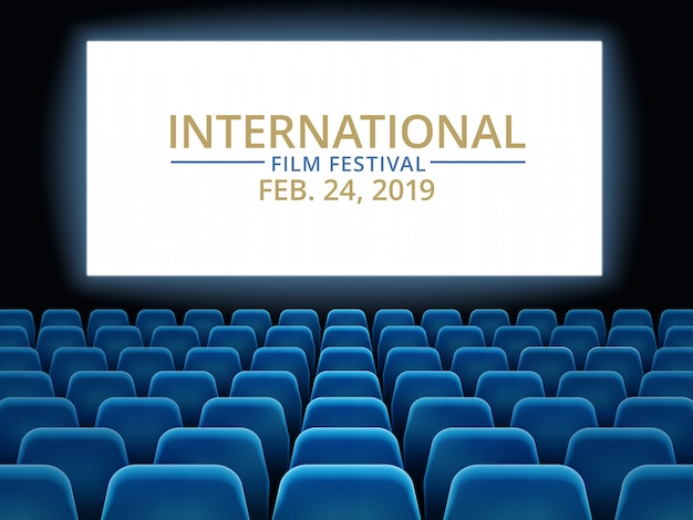 Film festival. movie theater hall with white screen. cinema international festival Premium Vector