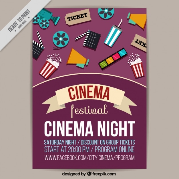 Film Festival Poster With Elements Free Vector