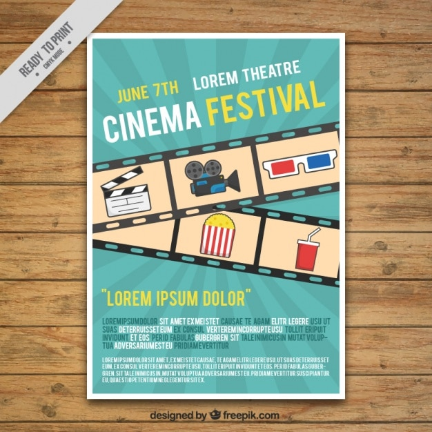 Film festival poster with frame and elements Free Vector