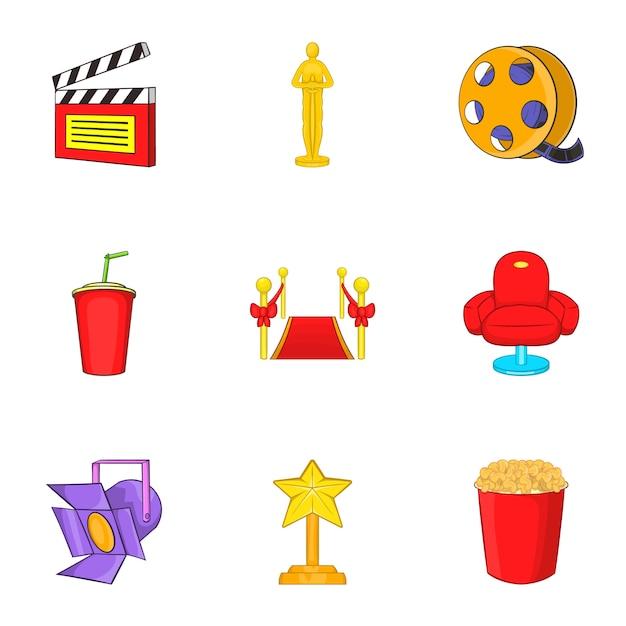 Film icons set, cartoon style Premium Vector