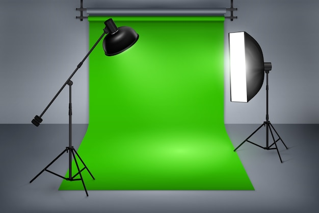 Film or photo studio green screen. interior with equipment, photography and flash spotlight. Free Vector