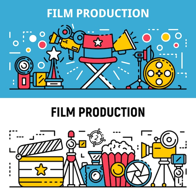 Film production banner set, outline style Premium Vector