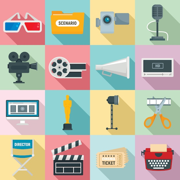 Film production icons set, flat style Premium Vector