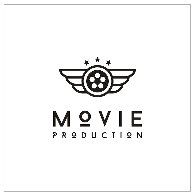 Film reel and wings for movie production logo Premium Vector