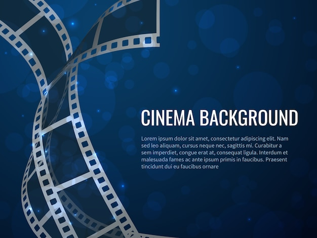 Film strip roll poster. movie production with realistic blank negative film frames and text.  cinema background Premium Vector
