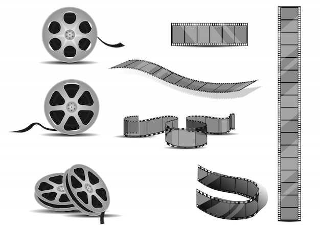 Film strips rolls set. Premium Vector
