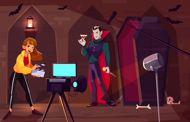 Filming movie or clip about count dracula cartoon  concept. Free Vector