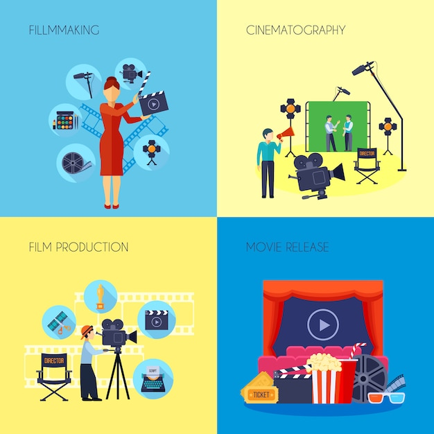 Filmmaking concept flat elements and characters with movie director with loudspeaker and cameraman abstract isolated vector illustration Free Vector