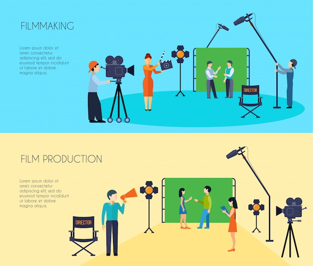 Filmmaking movie scene shooting banners set with director cameraman and assistant Free Vector