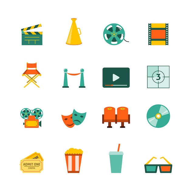 Filmmaking movie theater cinema entrance retro tickets and 3d polarized glasses flat icons collection isolated vector illustration Free Vector