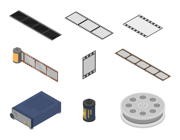 Filmstrip icons set, isometric style Premium Vector