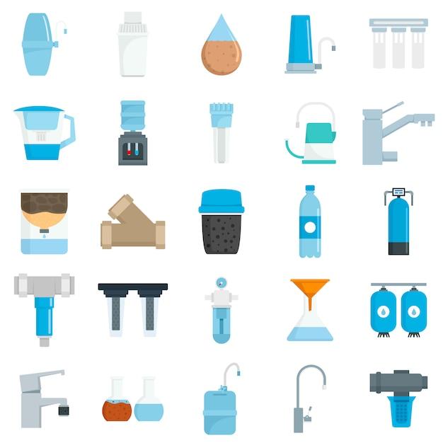 Filter water icon set Premium Vector