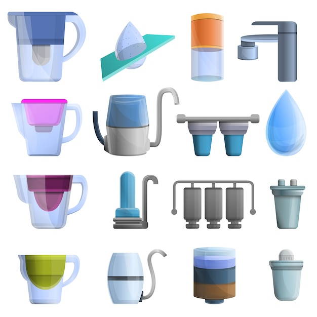 Filter water icons set, cartoon style Premium Vector