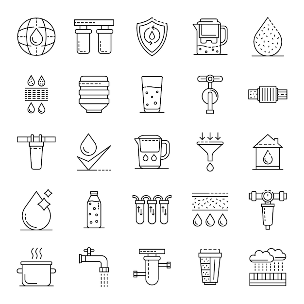 Filter water icons set. outline set of filter water vector icons Premium Vector