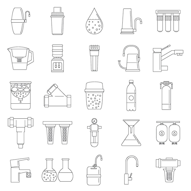 Filter water system icon set Premium Vector