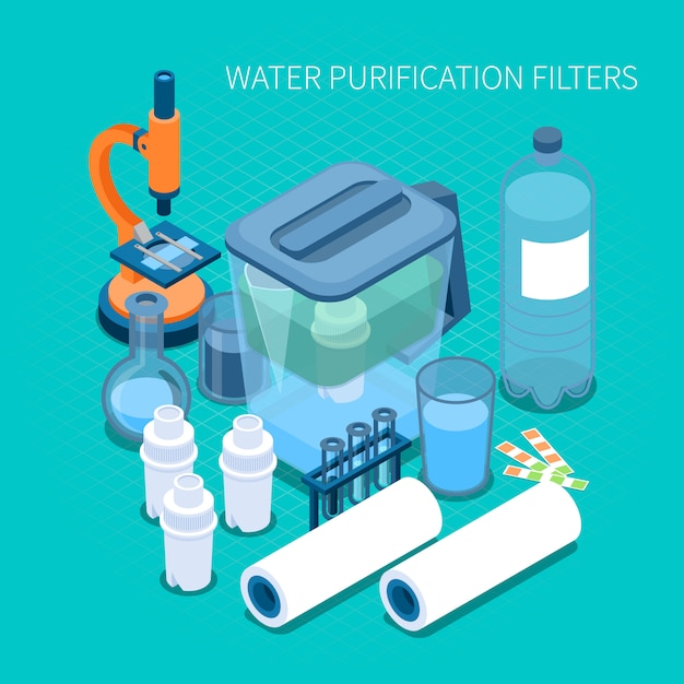 Filters for home water purification and test laboratory equipment isometric composition Free Vector