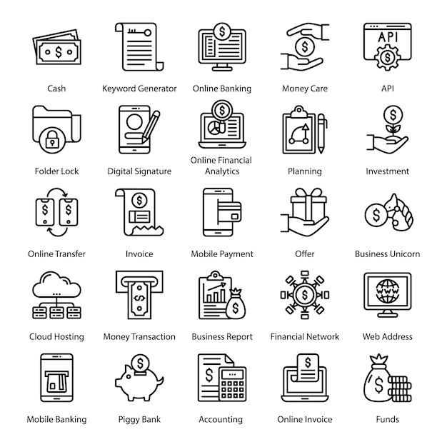Fin tech line icons pack Premium Vector