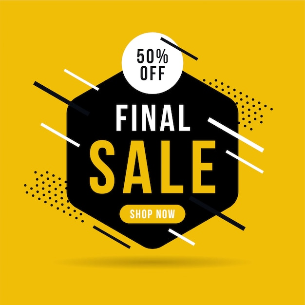 Final sale banner, up to 50% off. Premium Vector