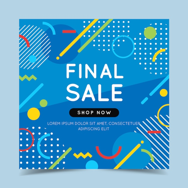 Final sale colorful banner with trendy abstract geometric elements and bright. Premium Vector