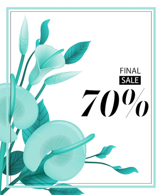 Final sale seventy percent coupon with mint calla lily and frame ...
