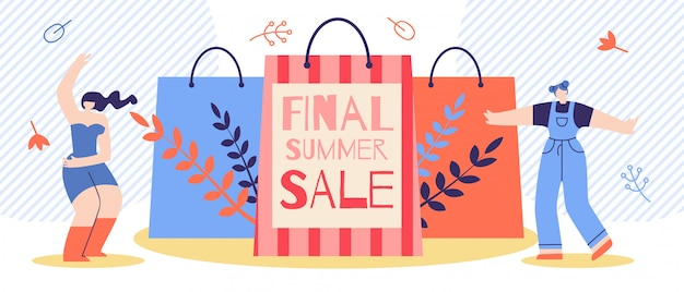 Плоский баннерная реклама final summer sale cartoon. Бесплатные векторы