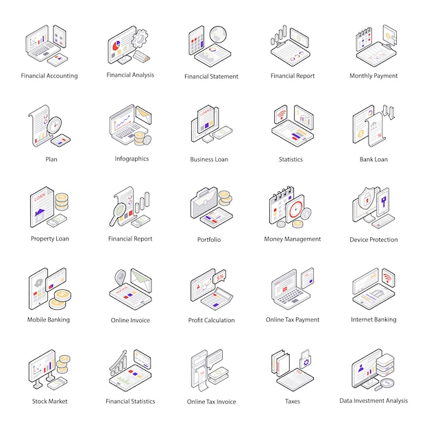Finance and accounting isometric icons pack Premium Vector