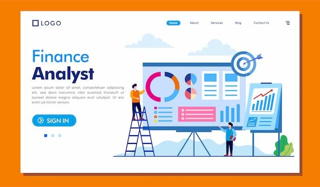 Finance analyst landing page website Premium Vector