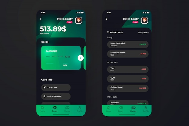 Finance app ui with transaction page, credit card holder information. Premium Vector