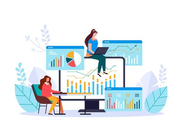 金融ビジネス分析投資統計管理情報ウェブ広告のイラスト Premiumベクター