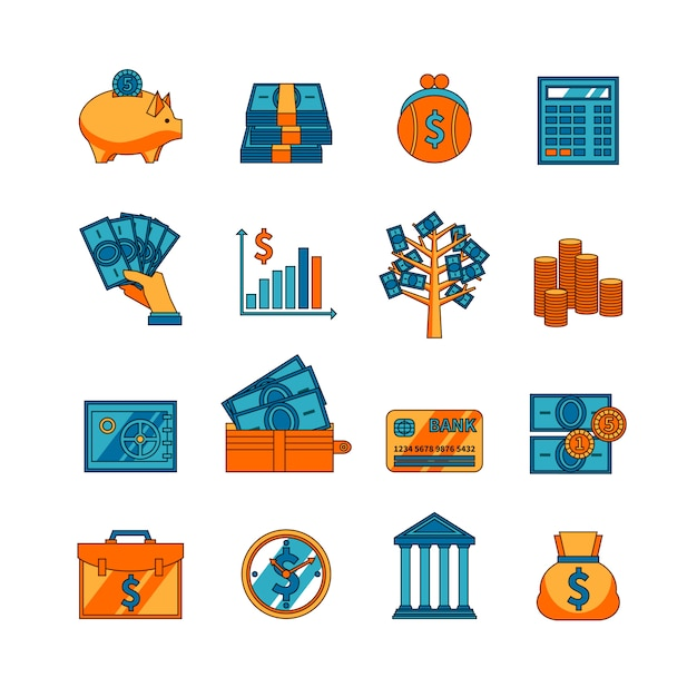 Finance business flat icons set Free Vector