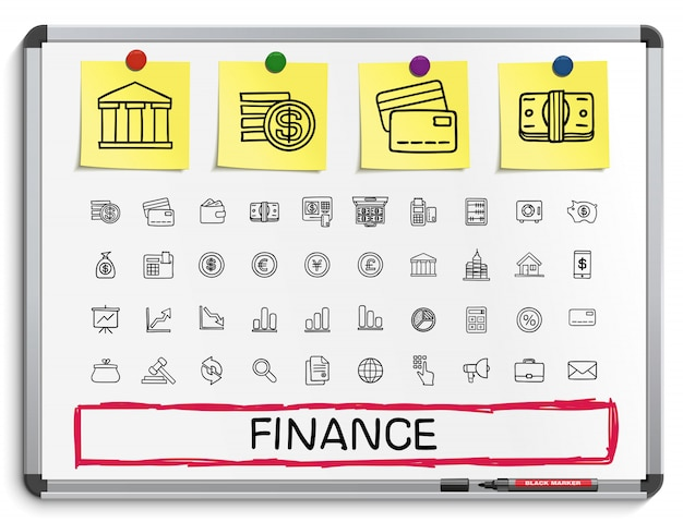 Finance hand drawing line icons.  doodle pictogram set. sketch sign illustration on white marker board with paper stickers. business, statistics, currency, money, payment, internet, register. Premium Vector