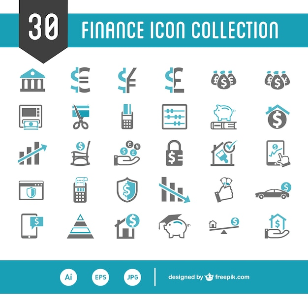 Finance icon collection Free Vector