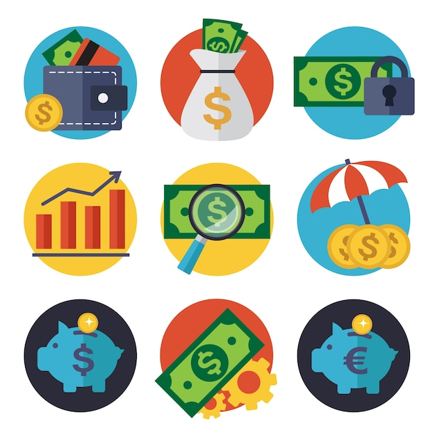 Finance icons collection Free Vector