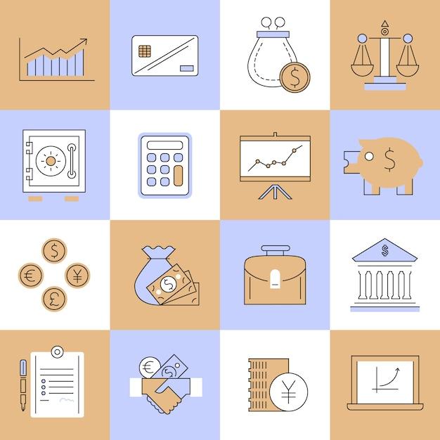 Finance icons set flat line Premium Vector
