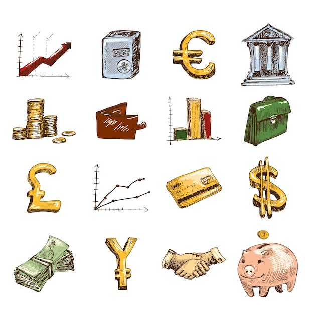 Finance icons set sketch colored Premium Vector