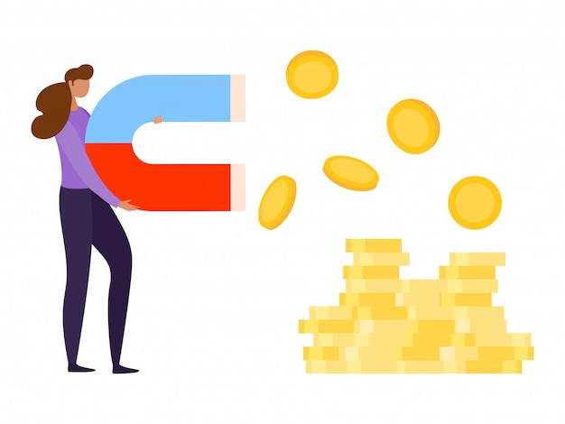 Finance investment,  illustration. magnet attract money for business concept, woman character hold power for coin profit Premium Vector