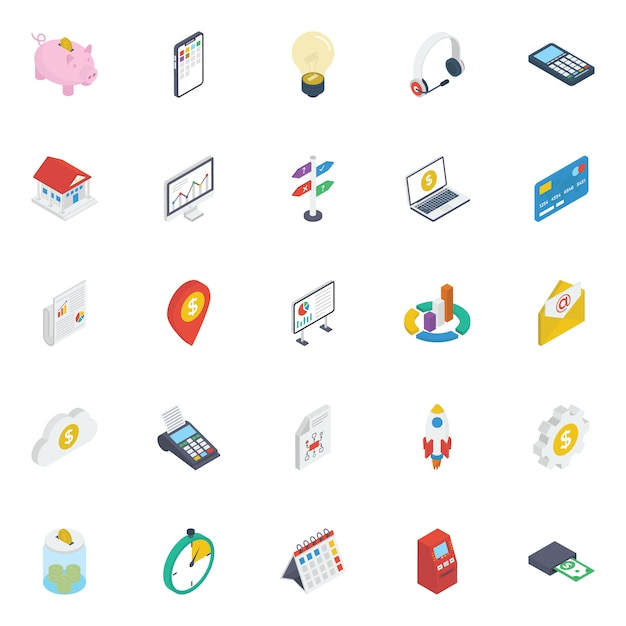 Finance isometric icons pack Premium Vector