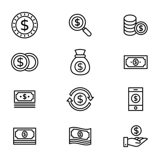 Finance line icons  pack Premium Vector