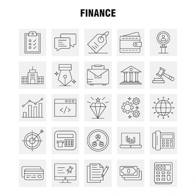 인포 그래픽, 모바일 ux / ui 키트에 대 한 금융 라인 아이콘 설정 무료 벡터